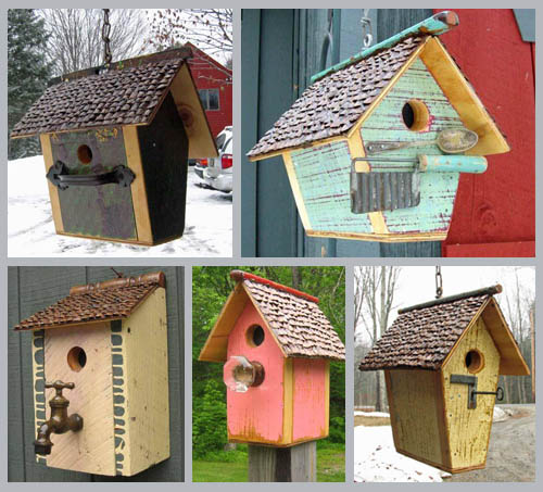 Browns foster home and their upcycled birdhouses upstate for Different types of birdhouses