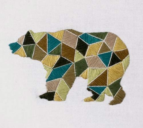 Geometric embroidery bears embroidered